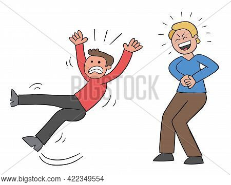 Cartoon Man Slips And Falls And His Bad Friend Laughs, Vector Illustration. Black Outlined And Color