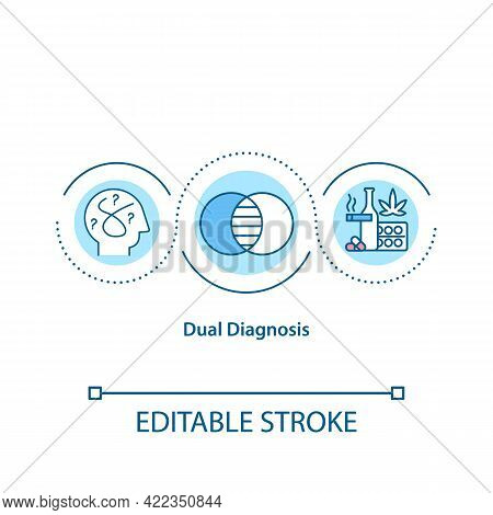 Dual Diagnosis Concept Icon. People Suffer From Mental Illness. Substance Abuse. Treatment Of Diseas