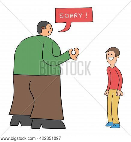 Cartoon Very Big Kind Man Apologizes On Weak Man, Vector Illustration. Black Outlined And Colored.