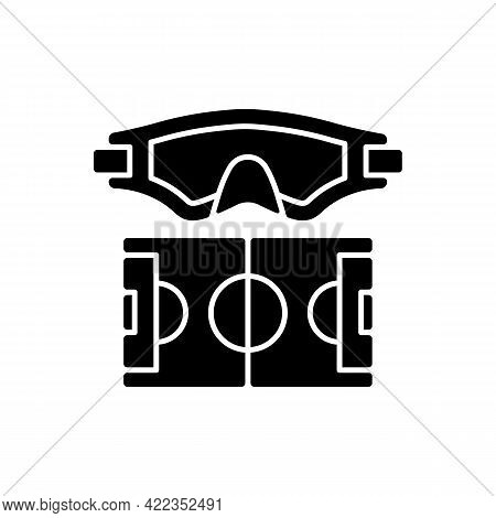 Water Polo Black Glyph Icon. Playing In Water With Ball. Competitive Team Sport. High Aerobic Fitnes