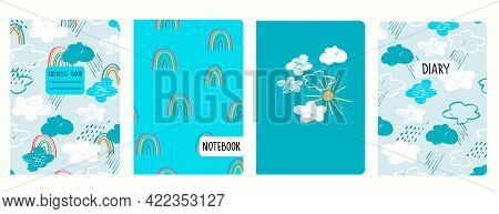Cover Page Templates With Sky, Clouds, Rain, Rainbows, Sun In Childs Drawing Style. Headers Isolated