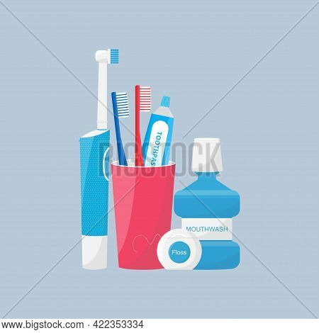 Oral And Teeth Care. Set Of Dental Cleaning Tools. Toothbrush, Electric Toothbrush And Toothpaste, M