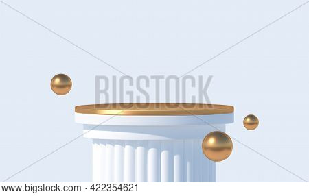 White Podium Like A Classic Column For Product Presentation. Podium Stage With Golden Platform And S