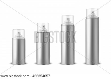 Vector 3d Realistic Silver Aluminum Blank Spray Can, Bottle, Transparent Lid Set Isolated. Small, Me
