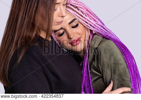 Head Shot Close Up Two Modern Authentic Girls Cuddling Smiling Female Friend. Overjoyed Excited Best