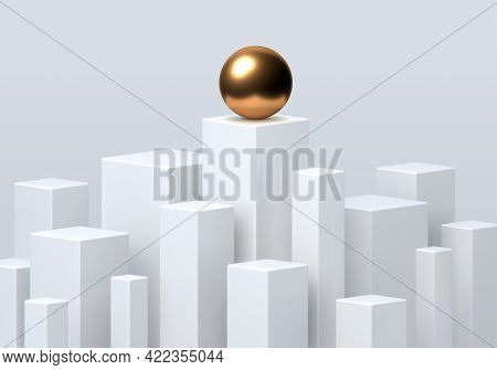 Rectangular Podiums For Product Presentation. Minimal Scene With Different Sizes  Podiums, Vector Il
