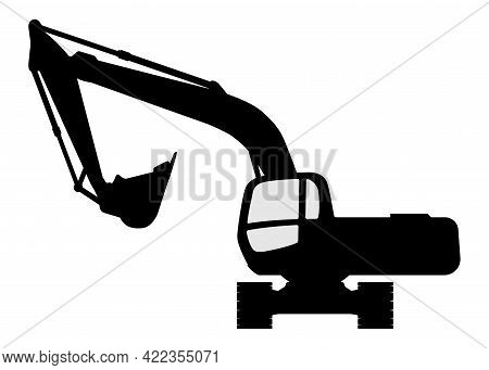 The Silhouette Of The Excavate On A White Background.