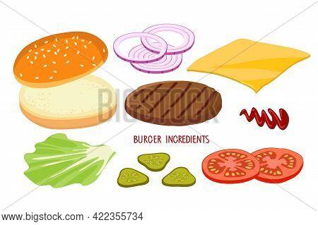 Burger Ingredient Set Isolated On White. Hamburger Creation Product Kit. Chopped Vegetables, Bun, Cu