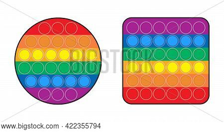 Pop It Anti Stress Vector Circle And Square Set. Antistress Game. Popular Modern Toy Isolated On Whi