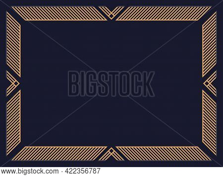 Art Deco Frame. Vintage Linear Border. Design A Template For Invitations, Leaflets And Greeting Card