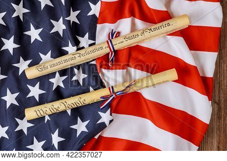Fourth Of July Day. Declaration Of Independence Parchment Roll Document With Us Flag On White Backgr