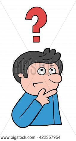 Cartoon Man Thinks, Vector Illustration. Black Outlined And Colored.