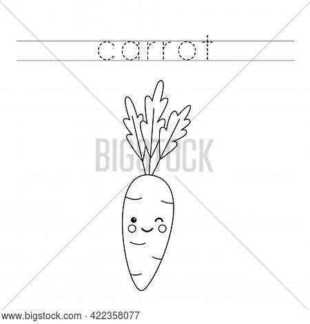 Trace The Word. Cute Kawaii Carrot. Handwriting Practice For Preschool Kids.
