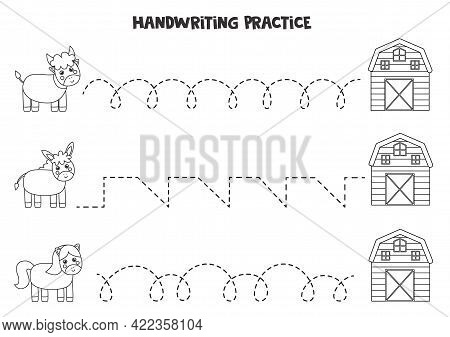 Tracing Lines For Kids With Cute Black And White Farm Animals. Handwriting Practice For Children.