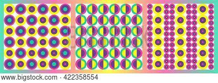 Modern Pop Art Style Seamless Patterns Set. Memphis Design.