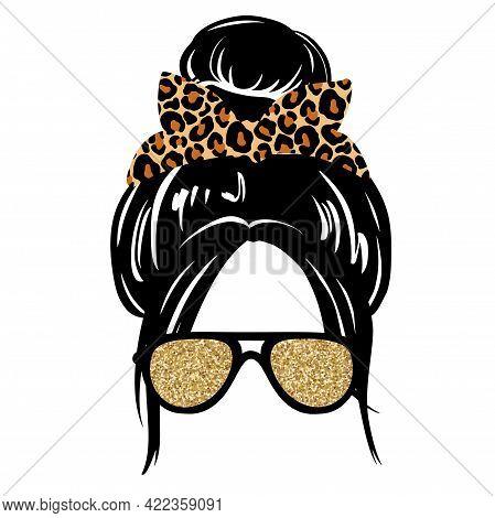 Messy Hair Bun, Aviator Glasses, Bandana Or Headwrap With Leopard Print. Vector Woman Silhouette. Fe