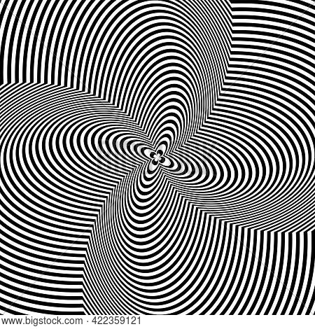 Whirl Twisting Rotation Movement Illusion In Abstract Op Art Design. Lines Texture. Vector Illustrat