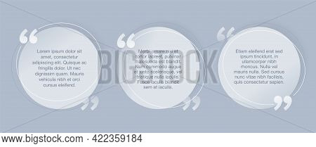 Quotes Template - 3 Variations In Circular Frame Flat Decorative Text Block With Quotation Marks And