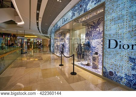 SINGAPORE - CIRCA JANUARY, 2020: entrance to Dior store in ION Orchard shopping mall in Singapore.
