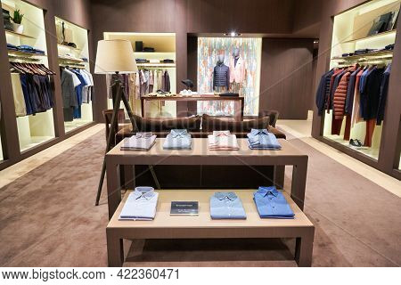 SINGAPORE - CIRCA JANUARY, 2020: interior shot of Ermenegildo Zegna store in ION Orchard shopping mall in Singapore.