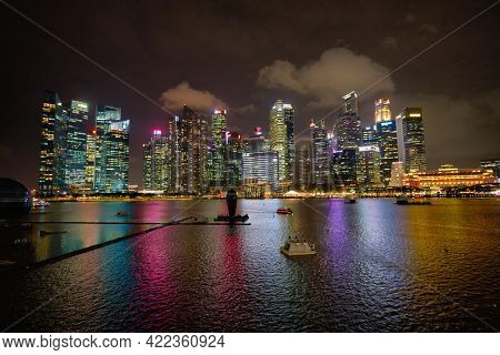 SINGAPORE - JANUARY 20, 2020: view from Louis Vuitton Island Maison at the Shoppes at Marina Bay Sands at nighttime