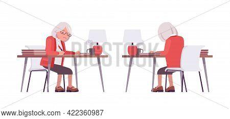 Old Teacher, Female Senior Professor, University, Tutor Working At Desk. Experienced Elderly Master,