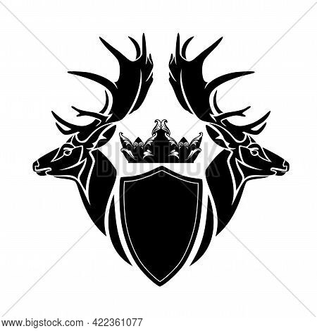 Pair Of Deer Stags With Large Antlers, King Crown And Heraldic Shield - Vintage Style Royal Coat Of