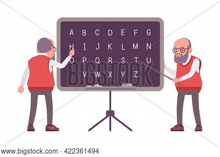 Old Teacher, Male Senior Professor, University, School Tutor At Blackboard. Experienced Elderly Mast