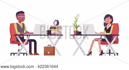 Black Businessman Working At Desk With Laptop, Businesswoman In Formal Workwear. Young Smart Manager