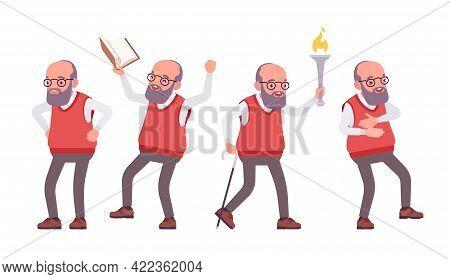 Old Teacher, Positive Emotions, Male Senior Professor, University School Tutor. Experienced Elderly