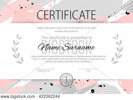 Certificate Grunge Trendy Blob Template. Pink Hand Drawn Blots And Black Grey Blob Spatters For Wedd