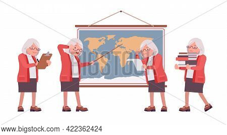 Old Teacher, Female Senior Professor, University, School Tutor At Map. Experienced Elderly Master, A