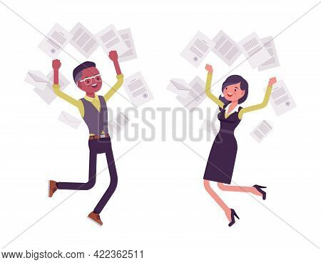 Black Businessman, Businesswoman Happy Jump In Flying Paper Documents. Manager, Young Entrepreneur E