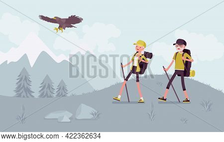 Active Seniors, Happy Healthy Elderly People Nordic Walking, Mountains. Couple Of Older Adults, Athl