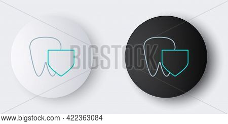 Line Tooth With Shield Icon Isolated On Grey Background. Dental Insurance. Security, Safety, Protect