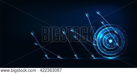 Futuristic Business Challenge Failure Concept With Glowing Low Polygonal Arrows And Target