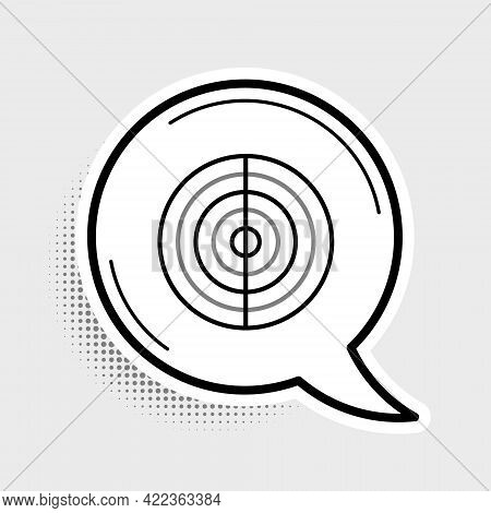 Line Earth Structure Icon Isolated On Grey Background. Geophysics Concept With Earth Core And Sectio