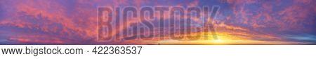 Big hi-resolution sunset panorama. Sky nature composition.