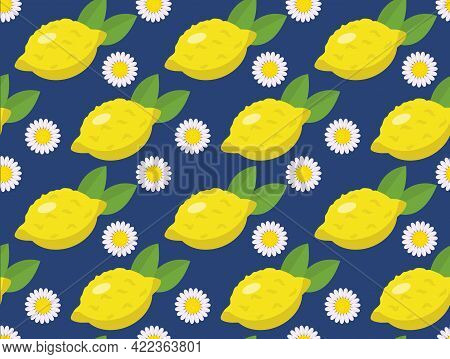 Tropical Seamless Pattern With Yellow Lemons On The Blue Background. Fruit Repeated Background. Vect