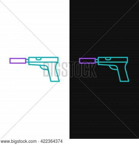 Line Pistol Or Gun With Silencer Icon Isolated On White And Black Background. Colorful Outline Conce