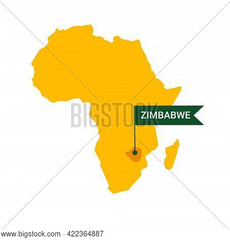 Zimbabwe On An Africa S Map With Word Zimbabwe On A Flag-shaped Marker.