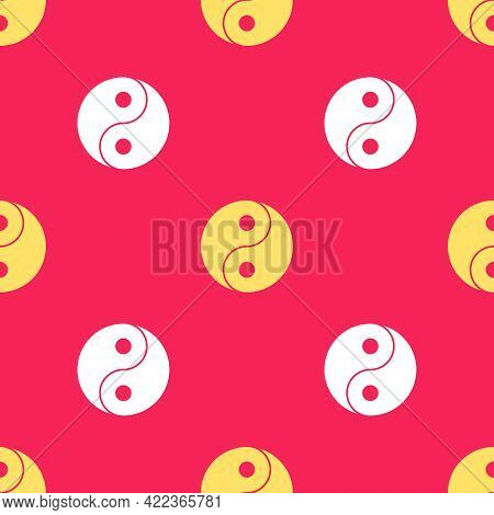 Yellow Yin Yang Symbol Of Harmony And Balance Icon Isolated Seamless Pattern On Red Background. Vect