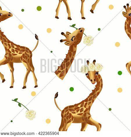 Cute Tropical Giraffe Seamless Pattern. Pattern With Wild Animals, Head Giraffe, Flower. 3d Vector I