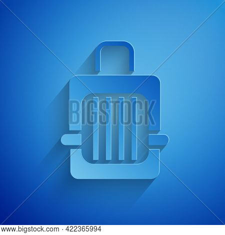 Paper Cut Pet Carry Case Icon Isolated On Blue Background. Carrier For Animals, Dog And Cat. Contain