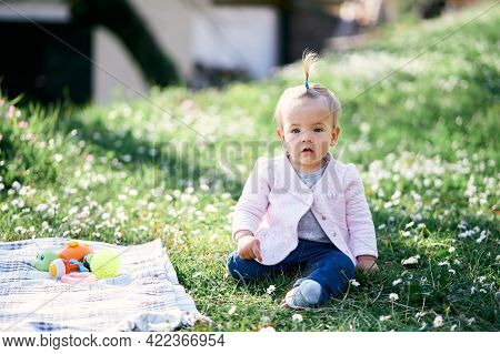 Pensive Little Baby Girl With A Ponytail On Her Head Sitting On A Green Lawn Among Flowers Near Blan