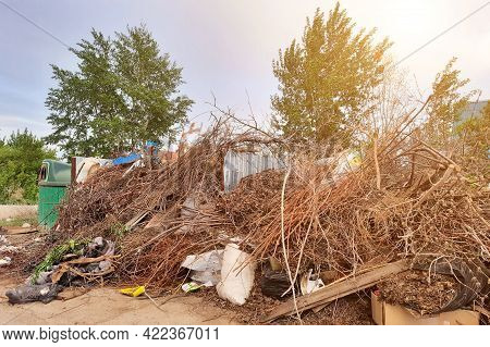 The Littered Place Of Collection Of Household Garbage, Problem Of Waste Removal To The Landfill.