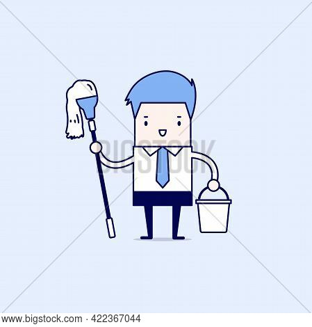 Businessman Holding Mop And Bucket. Cleaning The Workplace Concept. Cartoon Character Thin Line Styl