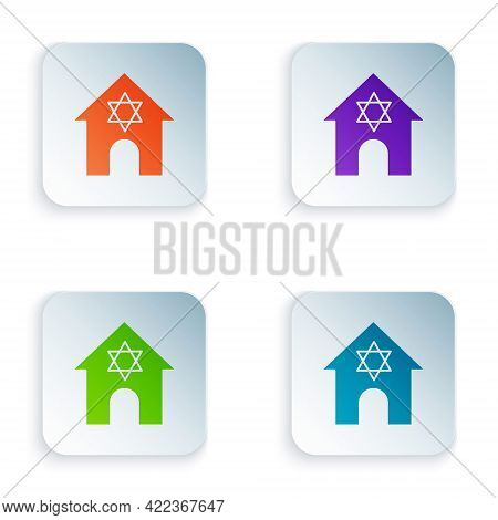 Color Jewish Synagogue Building Or Jewish Temple Icon Isolated On White Background. Hebrew Or Judais