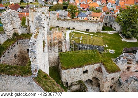 Stone Gothic Ruins Of Old Medieval Castle Rabi In National Park Sumava, Ancient Fortress In Sunny Sp