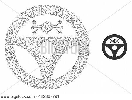 Mesh Vector Autopilot Image With Flat Icon Isolated On A White Background. Wire Frame Flat Polygonal